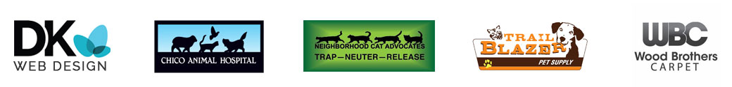 DK Web Design, Chico Animal Hospital, Neighborhood Cat Advocates, Trail Blazer Pet Supply, and Wood Brothers Carpet